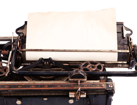 write letter: Old blank sheet of paper in the antique typewriter