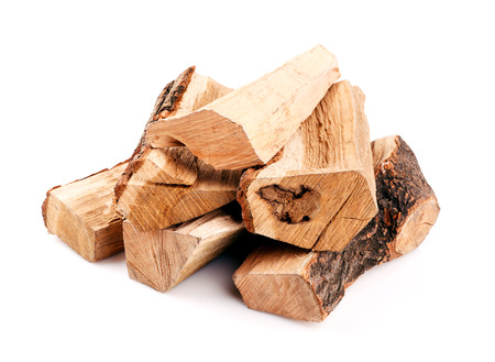 wood log: stack of firewood isolated on white background