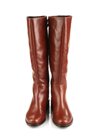 women in boots: brown female boots isolated on white background front view