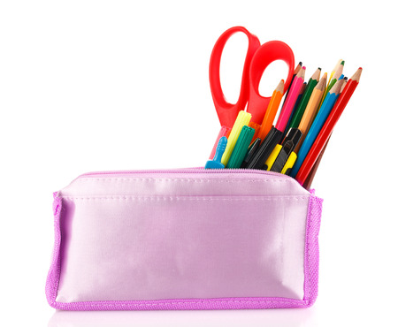 science tips: pencil case with school tools on a white background