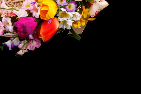 artifical: artifical flowers on a black background