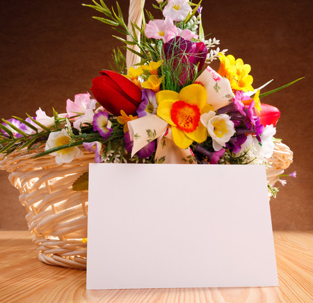 yellow card: decorated flowers basket vith with blank greeting card