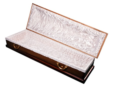 an ornate mahogany coffin casket with brass handles Banque d'images