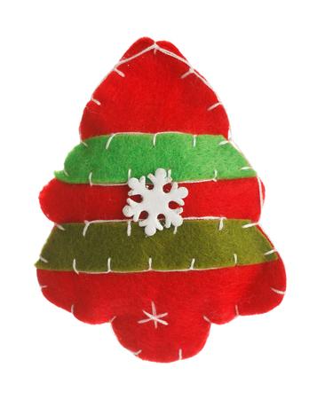 copo de nieve: Christmas tree with felt isolated on white background Foto de archivo