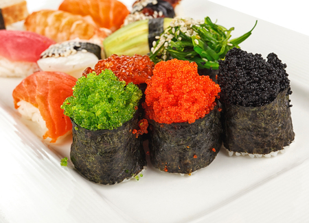 red salmon: Sushi rolls with red salmon,shrimp and  roe