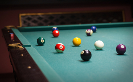 pool halls: Billiard balls on the table