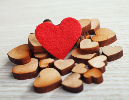 background with wooden and  red  heart