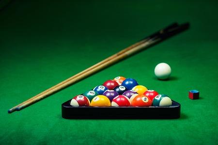 billiards tables: Billiard balls pool on green table, game