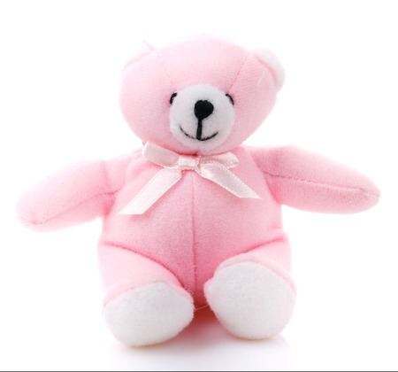 pink teddy bear: Children toy,pink teddy bear  isolated on white background