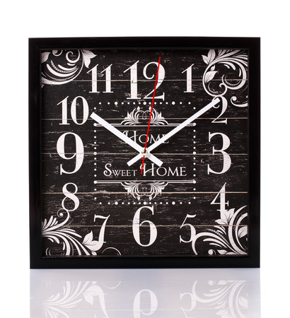 ancient pass: old black wooden vintage clock on white background