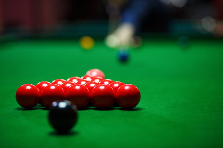 red Ball and Snooker Player, man  play snooker