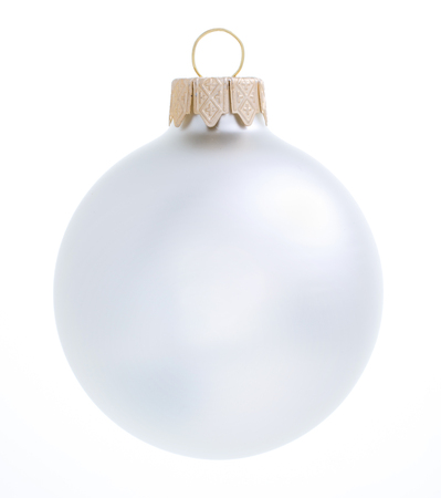 Christmas beautiful silver ball on white background Foto de archivo