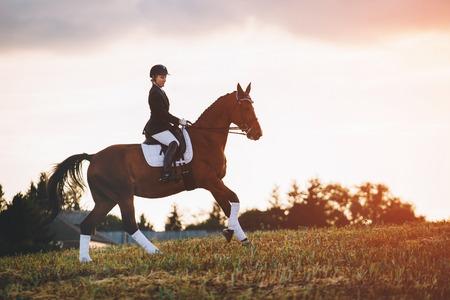 woman riding brown horse wearing helmet in field