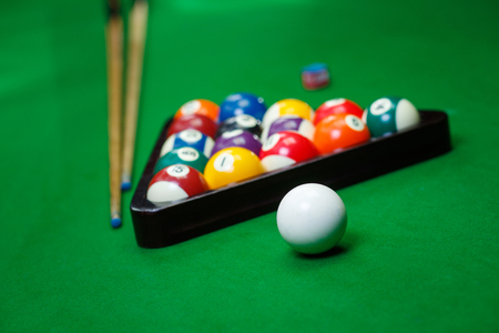 Billiard balls pool on green table Stock Photo