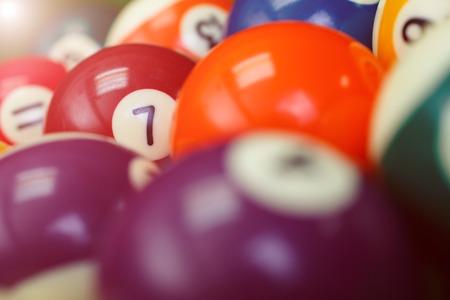 billiard balls on a green pool table, closeup Stock Photo