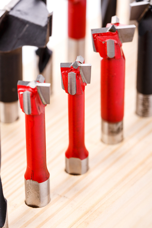 set of different drill bits for wood Stock Photo