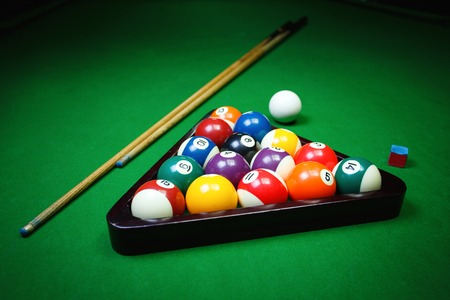 Billiard balls on table