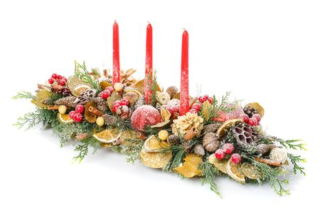 candle: New year and Christmas winter decoration. New year and Christmas winter decoration