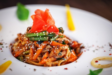 restaurant food - pasta with vegetables and ginger Stock Photo
