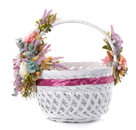 decorative Easter basket on a white background Stock Photo