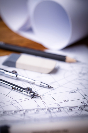 Indastrial drawing detail and several drawing tools. Technical drawings