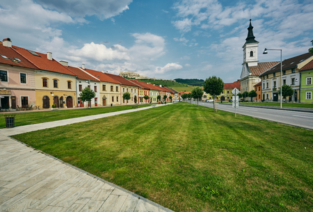 Spisske Podhradie, Slovakia, Europe. The central street of the city on the background of the castle Spis Castle Stock Photo