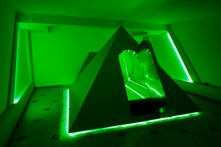 Floating camera in the form of a pyramid in the recreation center. Floatinh positive effect on your body. You have a feeling of weightlessness and full relaxation. Green Lighting