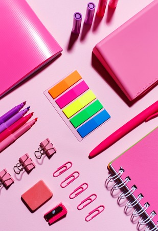 Color stickers, pink notebooks, paper clips, markers, elastic band and sharpener on a pink background
