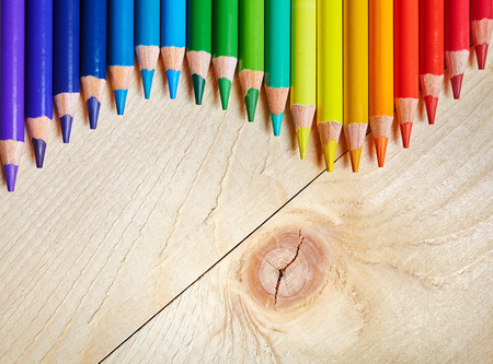 Pencils at the top of the table