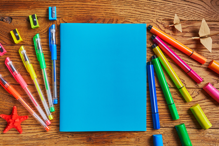 School stationery. In the center the notebook - a place for text