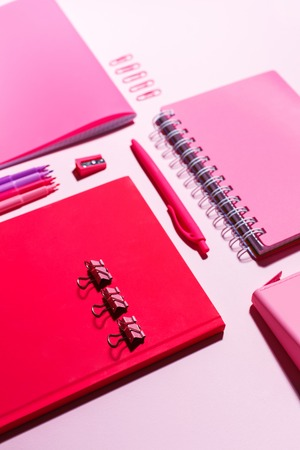 Stationery in pink tones on a pink background