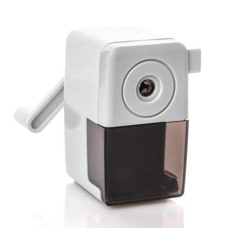 Gray black mechanical sharpener isolated on a white background. office supplies frame