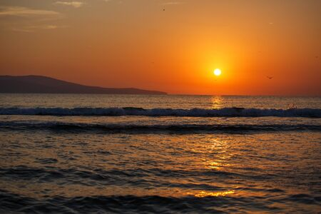 Beautiful sunset over the ocean. Sunset in the sea