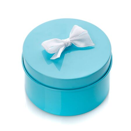 Blue gift box with white bow isolated