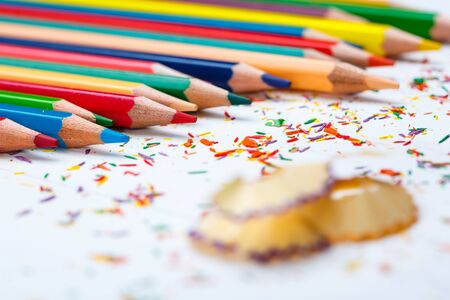 Bright color palette of crayons on the table. 1 September concept postcard, teachers day. selective focus Zdjęcie Seryjne