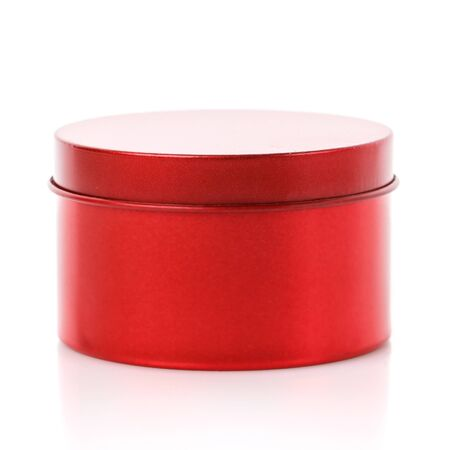 Simple round red gift box isolated on white background. Side view Zdjęcie Seryjne