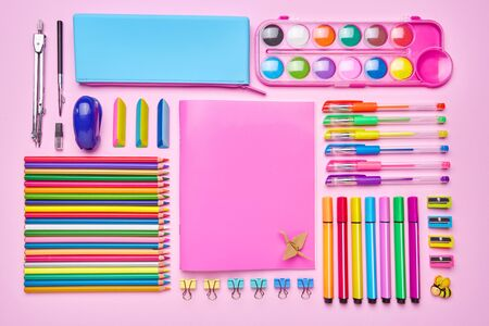 Beautiful office background for your inscription. Education concept. Stationery with copyspace. Group of school supplies on table. Top view, Flat lay. copyspace
