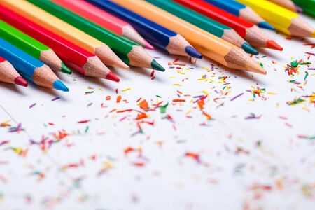 Bright color palette of crayons on the table. Concept of art, crafts and kids having fun Stock fotó