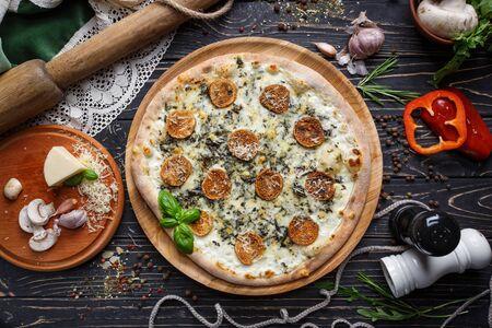 Mushroom pizza with herbs and mozzarella. Mockup. Stock fotó - 133402872