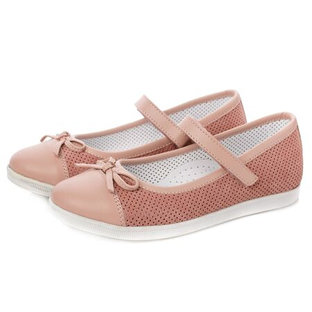Pink sandals for girls on a white background. Photo for shoes advertisement. Kids shoos