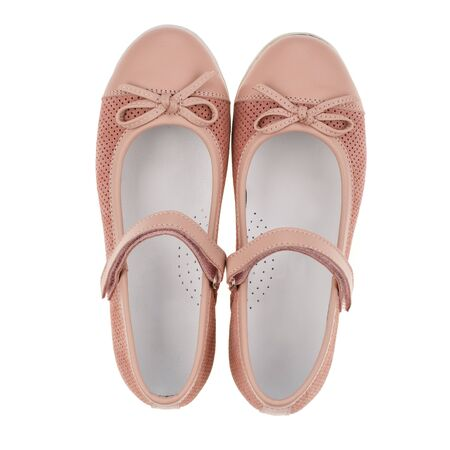 Pink sandals for girls on a white background. Photo for shoes advertisement. Kids shoos. Top view Stock fotó