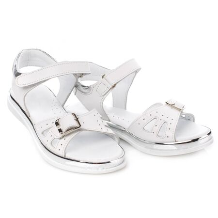 White girls sandals on a white background. Photo for shoes advertisement. Front view Stockfoto