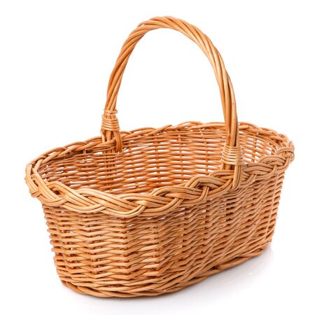 Big square brown wicker basket made of vines on a white background.