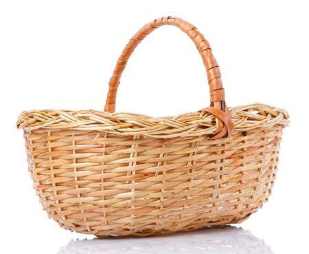 Beautiful handmade wicker basket isolated on white. Side view. Stockfoto