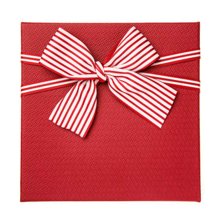 Red gift box with white and red ribbon isolated on white background. Top view. Congratulations on Women's Day, Mother's Day, Valentine's Day, Happy Birthday.
