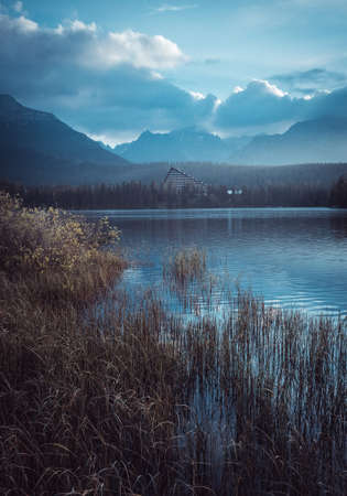Amazing spring landscape. Lake Strbske pleso in the mountains High Tatras in Slovakia. 스톡 콘텐츠 - 151620515