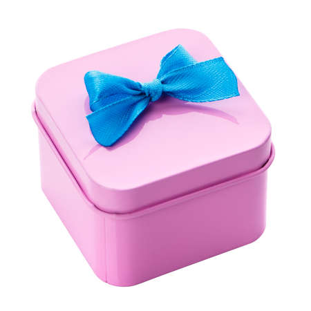 Pink gift box with blue bow on a white background. Isolated with clipping path on white background. 스톡 콘텐츠 - 151620519