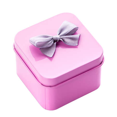 Small metallic pink gift box with gray bow on a white background.