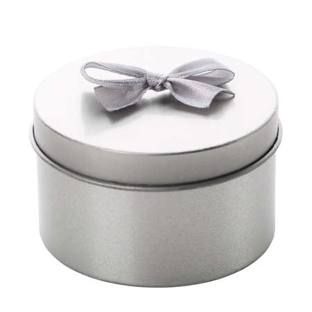 Round metallic gift box in gray with a small ribbon for a mini gift. Isolated on white background and clipping path cutout.