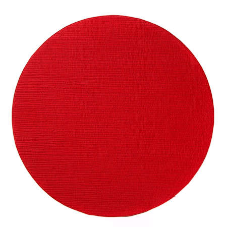 Red round cover from gift box close up on a white background. Top view. 스톡 콘텐츠 - 151620566